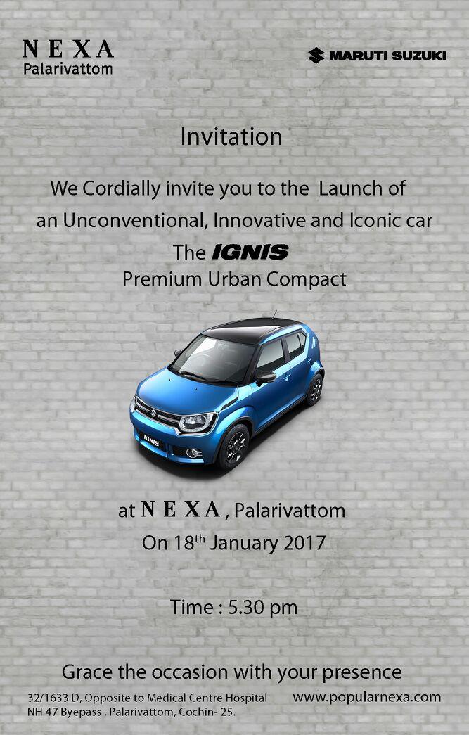 Maruti Suzuki Ignis Launch Kochi Popular Nexa Cochin Calicut